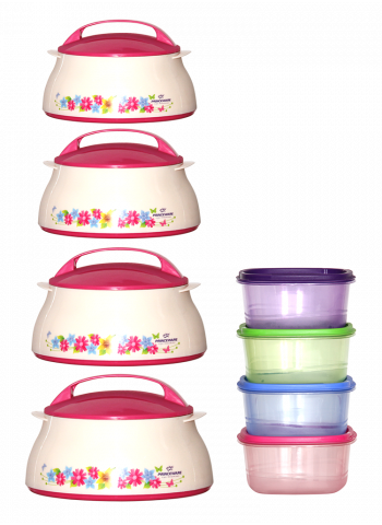 Prince Ware 4 Pcs Casserole Set With 4 Pcs Container Set