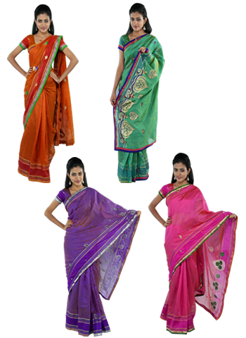 Meera 4 Embllished Cotton Silk Sarees