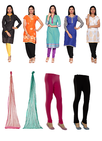 Poppins 5 Readymade Cotton Kurtis With Assorted 2 Leggings And Assorted 2 Dupatta
