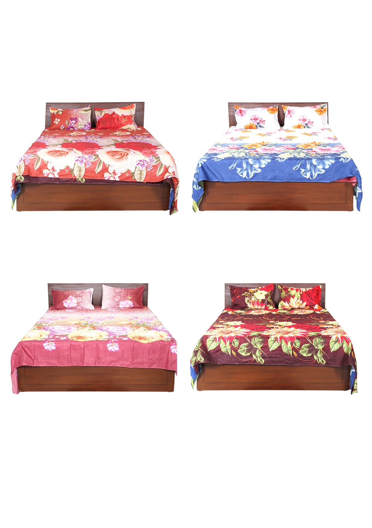 Assorted 4 Bedspread With 8 Pillow Covers