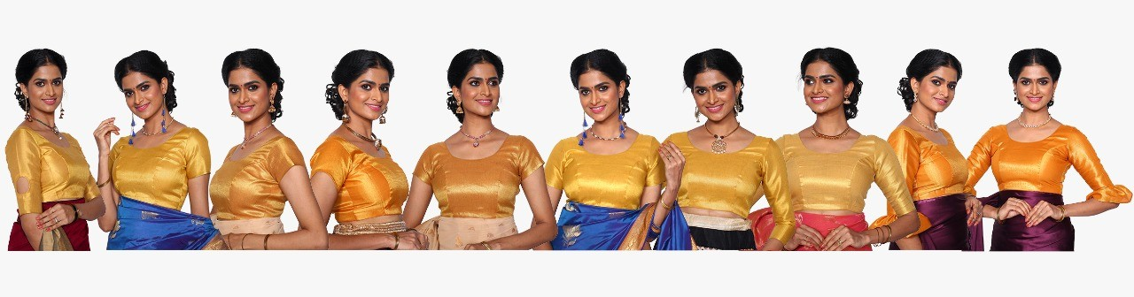 Assorted 10 Golden Blouse Material
