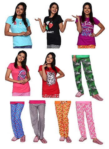 Pack Of 10 Women`S Cotton Night Pants And T-Shirt - Assorted Color