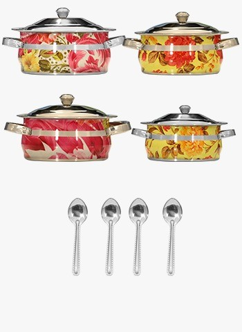 12 Pcs Printed With Ss Lid Cook & Serve Set