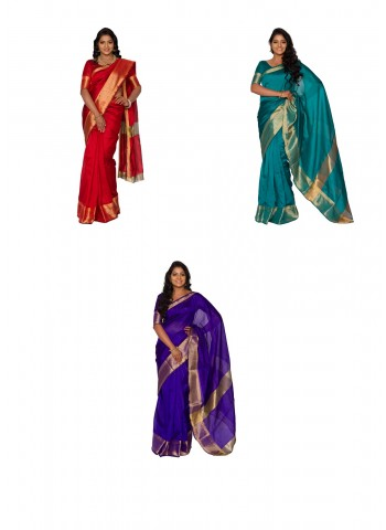 Assorted 3 Cotton Silk Saree Collections