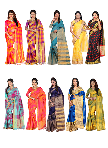 Assorted 10 Cotton Silk Saree Collection
