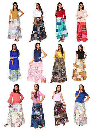 Assorted 7 Women`S Long Skirt-Assorted Color