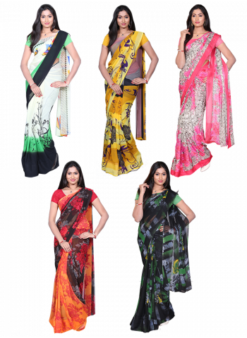 Assorted 5 Georgette Sarees Collections