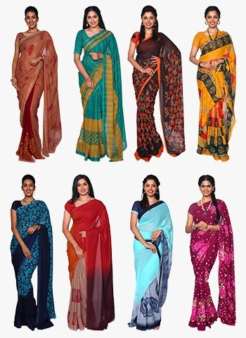 Assorted 8 Georgette Saree Collection